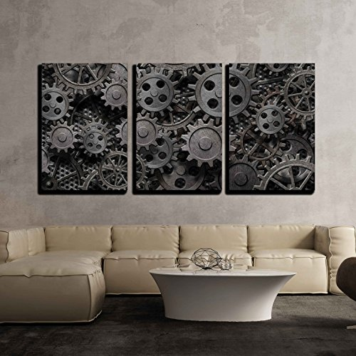 Grayscale Mechanical Gear Wall Decor x 3 Panels x3 Panels