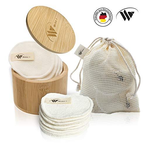 Webo+ | Waschbare Abschminkpads (10Stk) | mit eBook und Box aus Bambus zur Aufbewahrung | wiederverwendbare Wattepads…