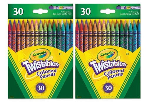 Crayola Twistables Colored Pencils, 30 Assorted Colors (2 Packages)