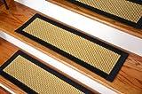 Dean Indoor/Outdoor Flatweave Carpet Stair Treads - Madagascar Sisal/Black (13) Plus Tape