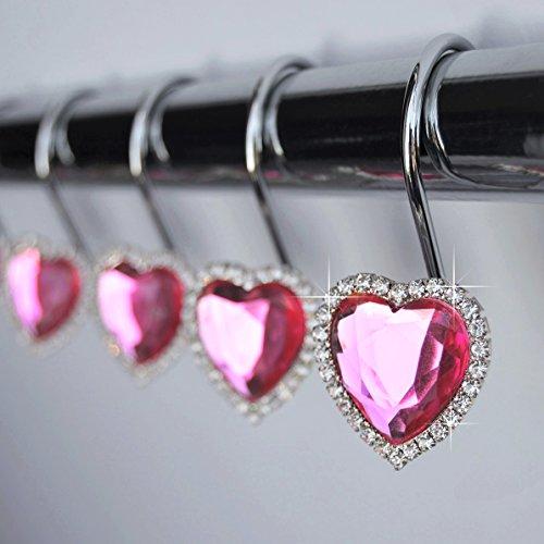 (American Cuteness Shower Curtain Hooks Rings - Heart Pink Hot Fuchsia Decorative Crystal Diamond Bling Rhinestones Bathroom Bath Set Gift Valentine Girl (Pink Hot) )