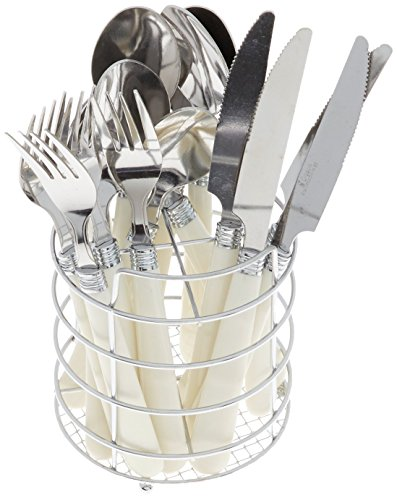 Gibson Steel Spoon Stainless (Gibson Value 53382.16 Sensations 16 Piece Stainless Steel Flatware Set, White)