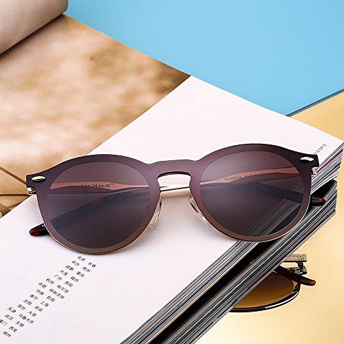 Polarisé Rondes Sunglasses Club Cadre Lunettes Bouclier Lentilles One Soleil Polarisé Or avec Sans de Marron Piece Miroir qOtwwYIT
