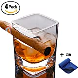 4 Packs Old Fashion Whiskey Glass With Cigar Holder Lead-free Wine Bourbon Brandy Beer Liquor Cup for Cigar Cigarette Lovers
