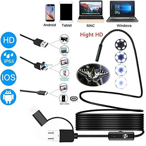 3 in 1 Borescope Sewer Pipe Inspection Camera 5.5Mm 6Led USB Waterproof Endoscope 300,000 Pixels Hd Snake Camera-5M