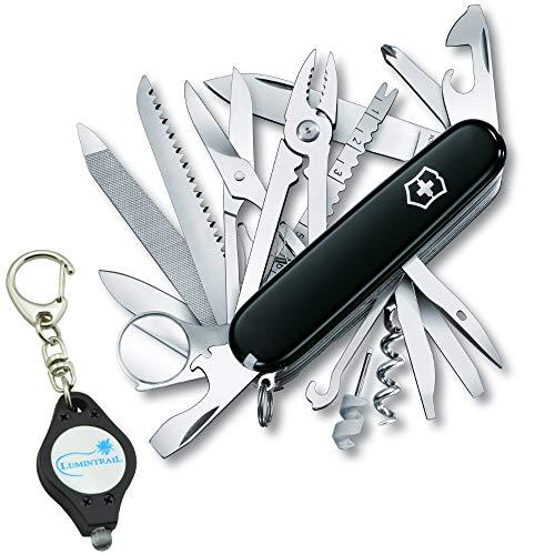 (Victorinox SwissChamp Swiss Army Pocket Knife Multi-Tool Bundle with a Lumintrail Keychain Light (Black))