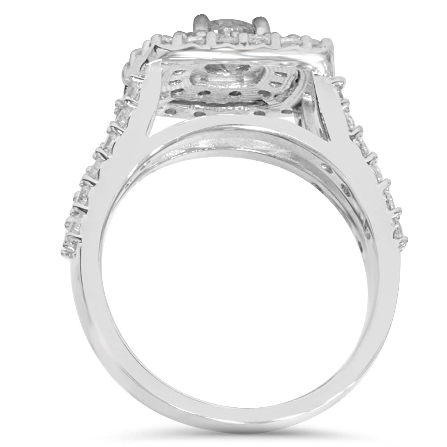 2 Carat Diamond Cushion Halo Engagement Wedding Ring Set White
