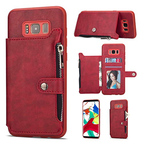 (Leather Zipper Back Wallet Case for Samsung Galaxy S8,Yobby Samsung Galaxy S8 Slim Red Case with Card Holder,Shockproof Protective Bumper Stand Magnetic Closure Cover )