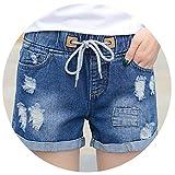 Spring and Casual Mid-Waist Shorts Women Denim Shorts Elastic Waist Jeans Beading Shorts Feet K3C,Blue,XXXL