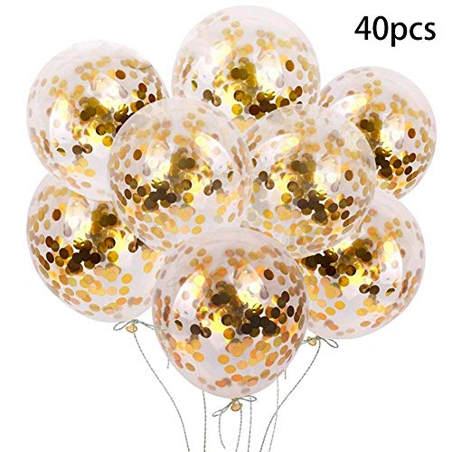 (12 Inch Gold Confetti Balloons with Golden Paper Confetti Dots for Birthday Party, Wedding, Bridal Shower, Baby Shower and Holidays - 40pcs Shining Gold)