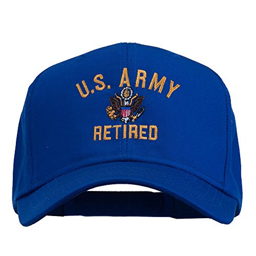 Retired Baseball - E4hats US Army Retired Military Embroidered Cap - Royal OSFM