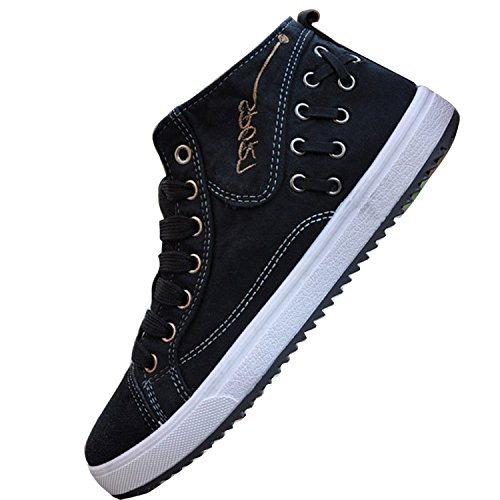 Men Shoes Denim Casual up Boot Flat Lace Canvas Black1 Boat Gaorui Ankle 4wdAaqR4