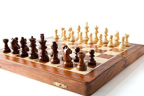 StarZebra 12-Inch Wooden Magnetic Travel Chess Set with Staunton Pieces, Folding Game Board and Extra Queen