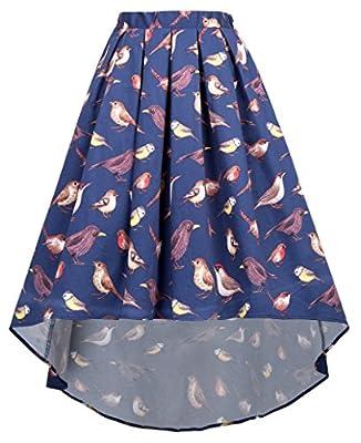 Kate Kasin Women's Stylish Bird Print High Low Pleated Long Maxi Skirt