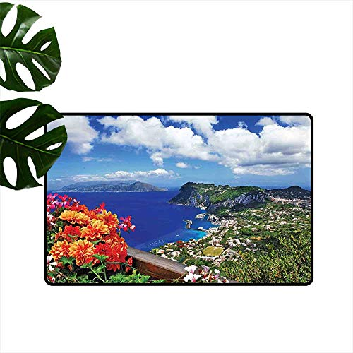 �Durable Rubber Door Mat Scenic Capri Island Low-Profile Mats for Entry W 16