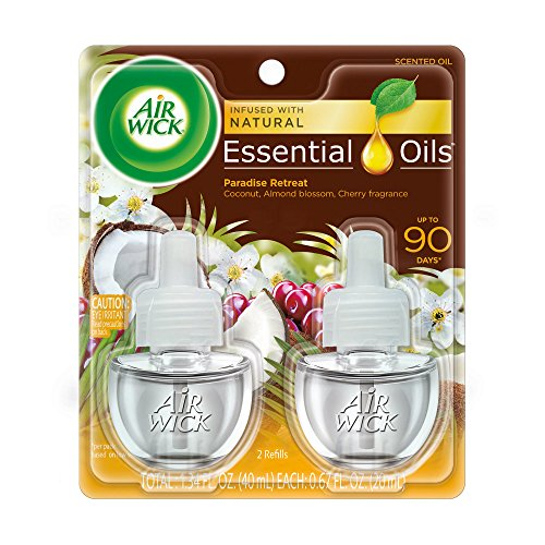 Air Wick plug in Scented Oil 2 Refills, Paradise Retreat , (2×0.67oz), Essential Oils, Air Freshener