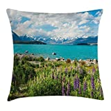 Ambesonne Nature Throw Pillow Cushion Cover by, Tekapo Lake with Blooming Lupins on Shore Southern Alps Meadow New Zealand, Decorative Square Accent Pillow Case, 16 X 16 Inches, Green Blue White