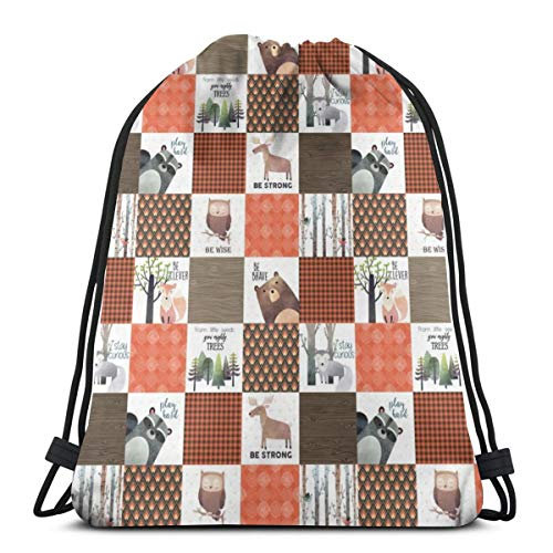 4.5 BLOCKS- Woodland Critters Patchwork Quilt - Bear Moose Fox Raccoon Wolf, Brown U0026 Orange Design GingerLous_7432 3D Print Drawstring Backpack Rucksack Shoulder Bags Gym Bag for Adult 16.9
