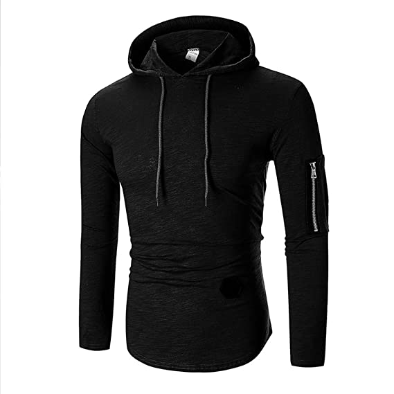 de0a1f60398a9 Sunhusing Men Long Sleeve T-Shirt Striped Round Neck Zip-Fitting T-Shirt  Hooded Blouse at Amazon Men s Clothing store