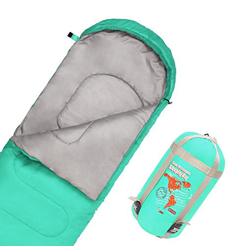 JBM Sleeping Bag with Compact Bag in 4 Seasons Multi Colors Blue Green Insulated Waterproof and Repellent Semi Rectangular Printed Pattern (Green, 15℃/60℉)