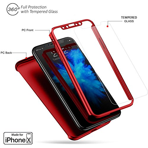 Ultra Thin Glass (Indigi iPhone X 360° Full Body Protective Case Ultra-thin Cover + Tempered Glass -Red-)