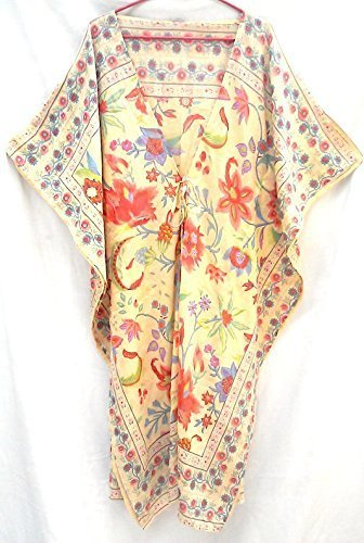 Pale Yellow & Coral Orange Chinoiserie Floral Hand print Boho chic Indian cotton gauze Kaftan Tunic top One size