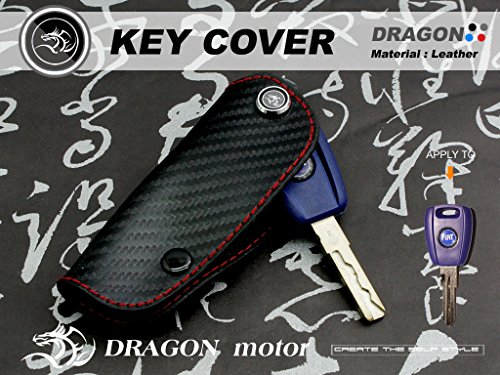 Leather Key fob Holder Case Chain Cover FIT For FIAT 500 TREKKING 4X4 CROSS LFI01-1-B ()