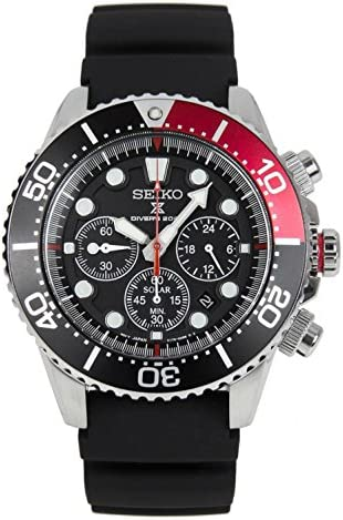 SEIKO Prospex Sea Diver s 200m Chronograph Solar Sports Watch Black Red SSC617P1