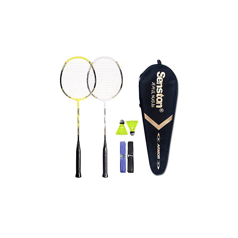 Senston 2 Player Badminton Racquets Set Double Rackets Carbon Shaft Badminton Racket Set 1 Carrying Bag Included