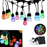 DINOWIN Solar String Lights, 12LED Waterdrop Ball Bulbs RGB Color Changing Crystal Ball String lights, Waterproof Indoor Outdoor Fairy Globe Lights,for Garden,Christmas,Wedding,Home, Party Decoration