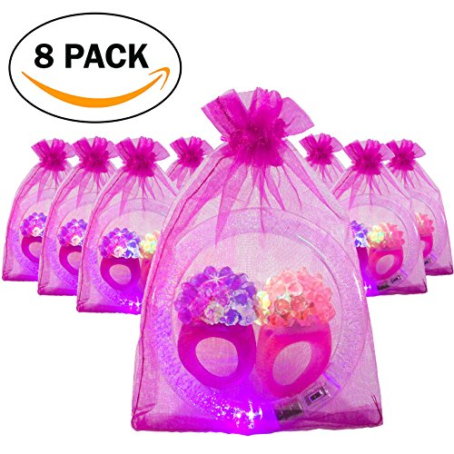 Goody Filled Bag (The Noodley's LED Light Up Jewelry Party Favor Pack 8 Filled Organza Bags Containing 24 pcs Flashing Bumpy Rings and Glow Bracelets - Girl Party / Bachelorette Party Goodie Bags)