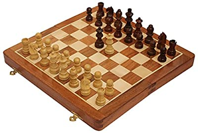 "Akrit's 12"" Wood Chess Set - Handmade Premium Magnetic Folding Chess Board - Wooden Travel Staunton Chess Game with Built in Storage"