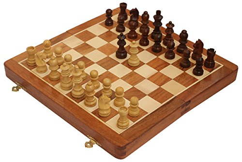 "One Day Sale on Akrit's Travel Chess Set - 10"" Magnetic Wooden Folding Board - Portable Chess Game Handmade in Fine Wood with Storage for Chessmen by Akrit's"