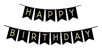 Sterling James Co. Guirnalda de Cumpleaños Negra con Letras ...
