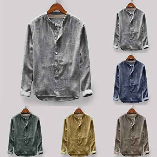Printemps Solide Couleur Jaune Shirt Décontracté Linen Coton Haut Homme Bouton En Vrac Wnf7nUqw