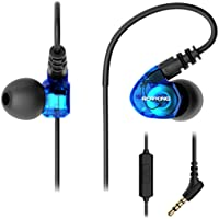 ROVKING Running Headphones Wired, Over Ear Sweatproof Sport Earbuds for Gym Workout Exercise Jogging, in Ear Earphones with Microphone for Cell Phone MP3 Laptop, Noise Isolating Earhook Ear Buds Blue