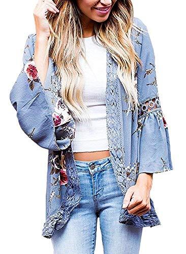 - Chunoy Women Casual Floral Print Lace Trim Bell Sleeve Kimono Cardigan Cover Up Blue Medium