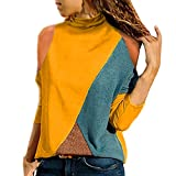 FEDULK Womens Casual Blouse Long Sleeve Tunic Off Shoulder Colourful Patchwork Sweatshirt Ladies Tops Pullover(Yellow, US Size L = Tag XL)