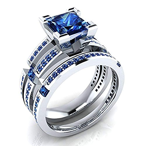 (tusakha 2.60 ctw Princess & Round Shaped Created Blue Sapphire Wedding Band Engagement Bridal Ring Set .925 Sterling Silver (7))