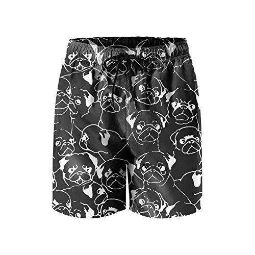 LHSCVUFASC Pug Dog Life Men Beach Swimming Trunks Shorts Summer Breathable Beach Shorts Swim