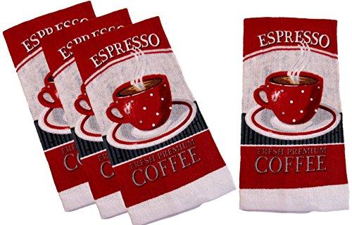 100% Cotton Kitchen Towel Sets - Espresso Coffee Cups