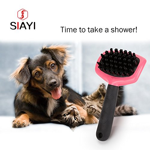 Grooming and Shedding Massage SIAYI Dog Bath Brush Pet Slicker Shedding Brush Suits for Short to Long Hair Dogs and Cats (Calssic, PINK)