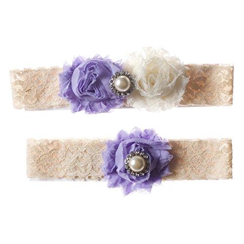 Lavender and Ivory Shabby Flower Wedding Garter Set