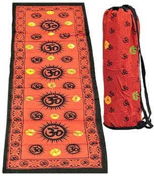 Mt.Everest Gift Sadhguru Om Yoga Mat 100% Cotton Hand Made from Nepal (Red) with Carry Bag (Ganesha Yoga Mat)