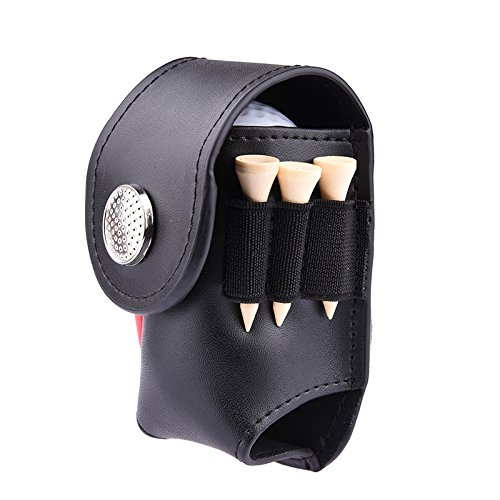 Mini Leather Golf Ball Holder Pouch, Portable Clip On Golfer Aid Tool with 3 Tees 2 Practuice Balls 1 Divot Fork ()