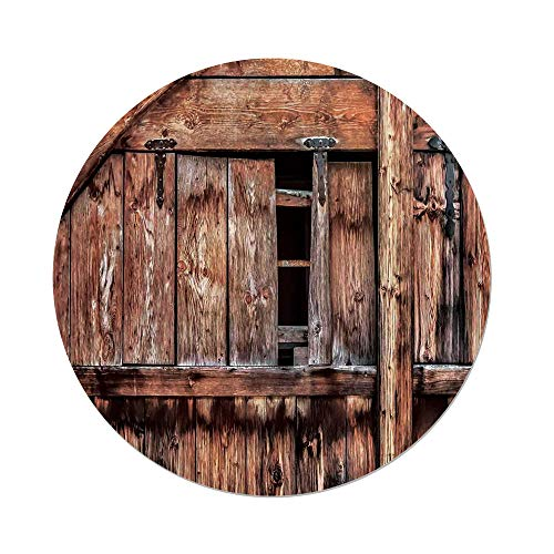 iPrint Polyester Round Tablecloth,Rustic,Abandoned Damaged Oak Barn Door with Iron Hinges and Lateral Cracks Knock Theme,Light Rosewood,Dining Room Kitchen Picnic Table Cloth Cover,for Outdoor Indoor