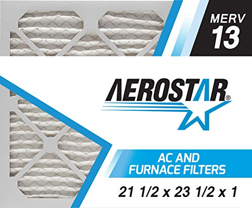 Aerostar 21 1/2x23 1/2x1 MERV 13, Pleated Air Filter, 21 1/2 x 23 1/2 x 1, Box of 6, Made in the USA