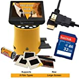 Wolverine Titan 8-in-1 20MP High Resolution Film to Digital Converter with 4.3 Screen and HDMI output, Worldwide Voltage 110V/240V AC Adapter, 32GB SD Card & 6ft HDMI Cable (Bundle)
