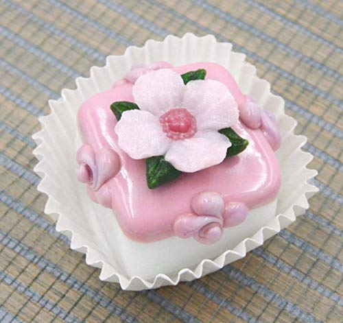 Handmade Art Glass Primrose atop a White Chocolate Petit Four Gift Home Décor