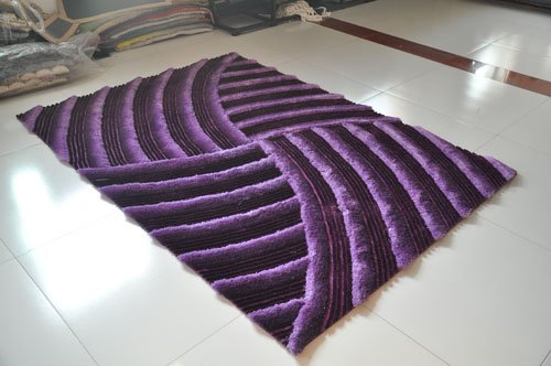 Dark Purple Two Tone lavender Shaggy Shag Area Rug 8'x10' Carved Art Deco Design High End Designer Quality Flokati High Pile Soft Iridescent Sheen Ultra Plush Living room Bedroom